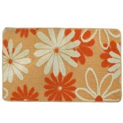 Килимок для ванної прогумована основа 50х80 см бежевий, білі, помаранчеві квіти