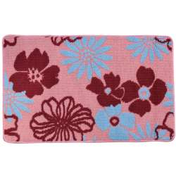 Килимок для ванної прогумована основа 50х80 см рожевий, бордові, блакитні квіти