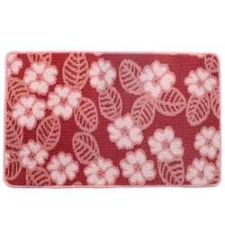 Килимок для ванної прогумована основа 50х80 см рожевий, рожеві квіти