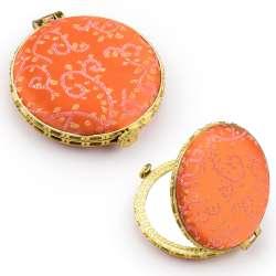 Дзеркало косметичне кругле в китайському стилі 8см помаранчеве