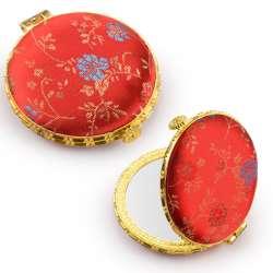 Дзеркало косметичне кругле в китайському стилі 8см червоне