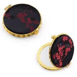 Дзеркало косметичне кругле в китайському стилі 8см чорне