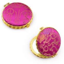 Дзеркало косметичне кругле в китайському стилі 8см малинове