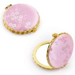 Дзеркало косметичне кругле в китайському стилі 8см рожеве