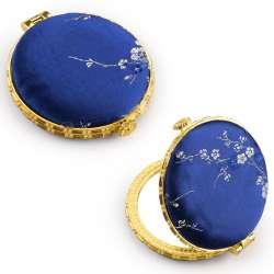 Дзеркало косметичне кругле в китайському стилі 8см сине