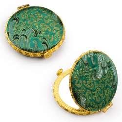 Зеркало косметическое круглое в китайском стиле 8см зеленое