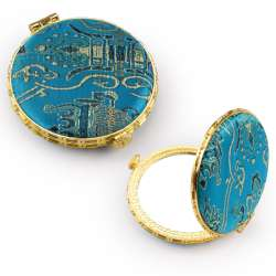 Дзеркало косметичне кругле в китайському стилі 8см бирюзове