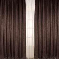 Портьера софт коричневая темная, высота 2,78, ширина 2,65 (комплект 2шт)