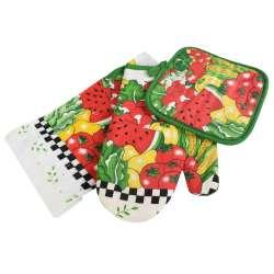 Прихватка, перчатка, полотенце 38х64 см белое с овощами фруктами