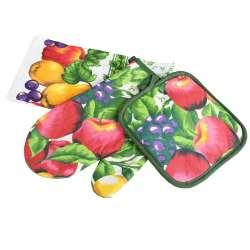 Прихватка, перчатка, полотенце 38х64 см белое салатовые листья с фруктами