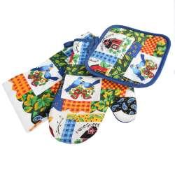Прихватка, перчатка, полотенце 38х64 см белое разноцветные квадраты с домиками и птичками