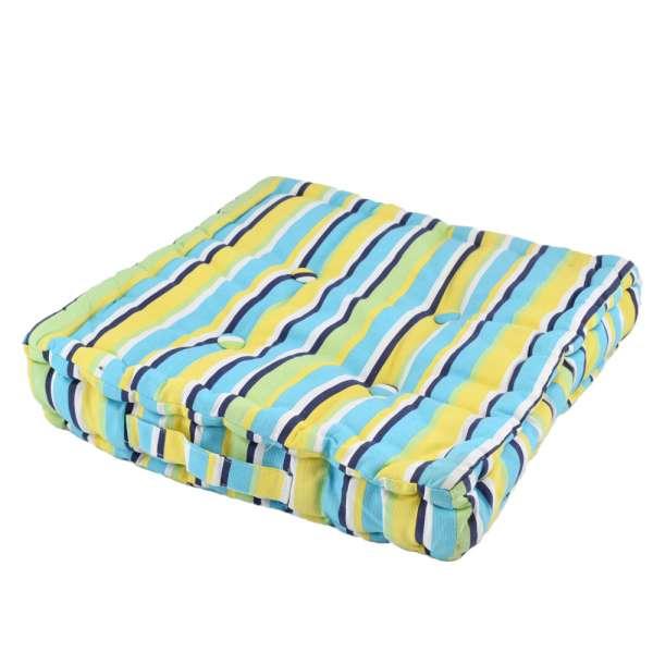 матрац для стульев, в полоску черно-желто-голубую, 40х40