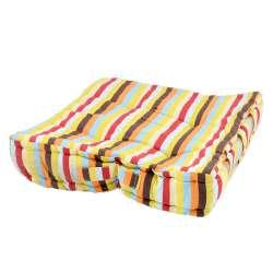 Подушка для стульев 40х40 см в полоску желтую голубую оранжевую и коричневую