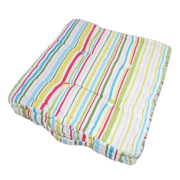 матрац д / стільців в смужку зелено-малин, роз-голуб, 40х40