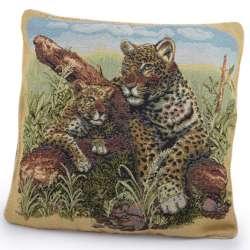 Наволочка гобеленовая 45х45 см Два леопарда