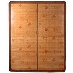Покривало циновка бамбук 150х195 см розкладне лаковане з квітами листям бежеве