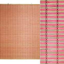 Ролети з бамбукової соломки debel 120х150 см смужки натуральні і рожеві