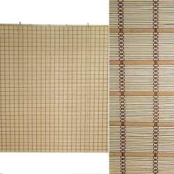 Ролеты из бамбуковой соломки debel 150х180 см полоски широкие натуральные и бежевые