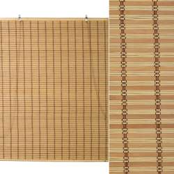 Ролети з бамбукової соломки debel 180х200 см смужка натуральна і бежево-чорна