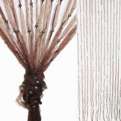 Штора декоративна з капронової тасьми 80х175 см коричнева