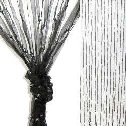 Штора декоративна з капронової тасьми 80х175 см чорна
