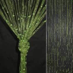 Штора декоративна з капронової тасьми 80х175 см оливкова