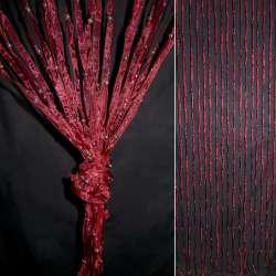 Штора декоративна з капронової тасьми 80х175 см бордова
