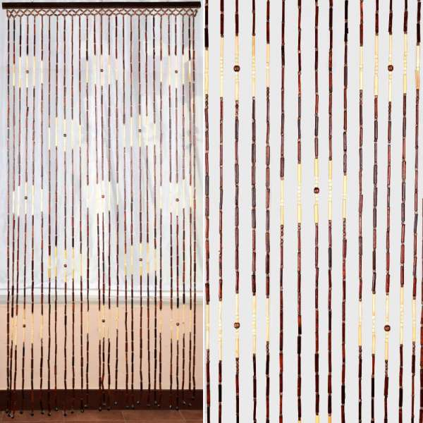 штора дерев. 90х180 коричневая с беж. квадратом