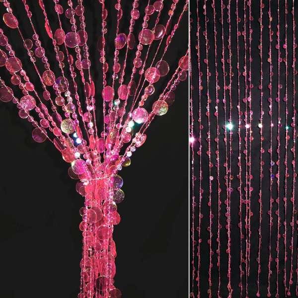 Штора декоративная пластик монетки 80х175 см розовые