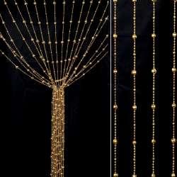 Штора декоративна пластик гранована кулька 80х175 см золото світле