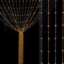 Штора декоративна пластик гранована кулька 80х175 см золото темне