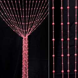 Штора декоративна пластик гранована кулька 80х175 см рожева яскрава