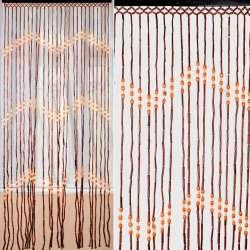штора дерев. 85х175 коричневая с оранжевыми бусинами