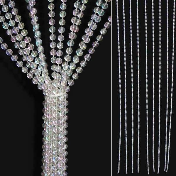 декоратив. штора серебристые шарики (Н-5)(1,8х0,8)