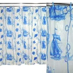 фіранка для душа біла з синім абстр. малюнком, 183х183