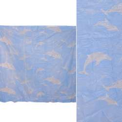 Шторка для ванної з дельфінами 182х182 см блакитна