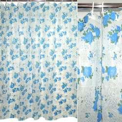 фіранка для ванної кімнати біла з синіми кольору, 182х182