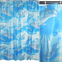 Шторка для ванной с дельфинами 170х180 см голубая
