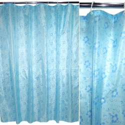 Шторка для ванной с цветами 170х180 см сине-голубая