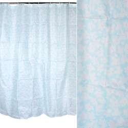 Шторка для ванной с цветами 170х180 см бирюзово-белая