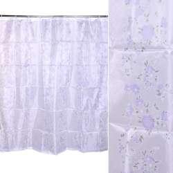 Шторка для ванной с цветами 170х180 см бело-фиолетовая