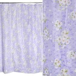 Шторка для ванной с цветами 170х180 см фиолетово-белая