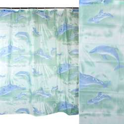 Шторка для ванной с дельфинами 178х178 см зеленая