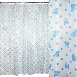 Шторка для ванной с бантиком 178х178 см бело-голубая