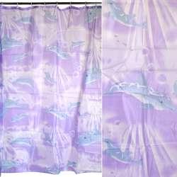 Шторка для ванної з дельфінами 178х178 см фіолетова