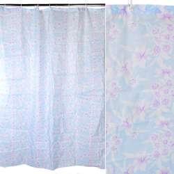 Шторка для ванной с цветами 178х178 см розово-голубая