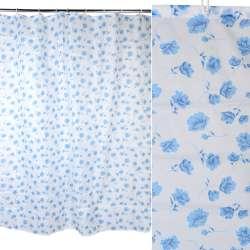 Шторка для ванной с цветами 178х178 см бело-голубая