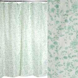 Шторка для ванной с цветами 178х178 молочно-зеленая