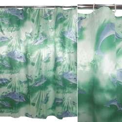 штора д / ванни зелена з дельфінами, 180х180