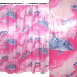штора д / ванни малиново-молочна з дельфінами, 180х180